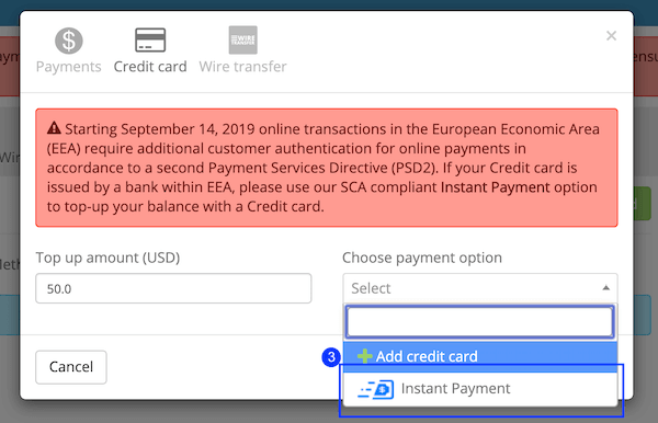 "Using the ""Instant Payment"" button"