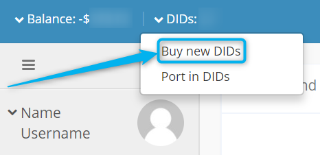 Buy new DIDs option
