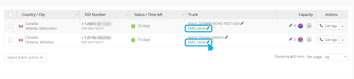 SMS Trunk assignment option