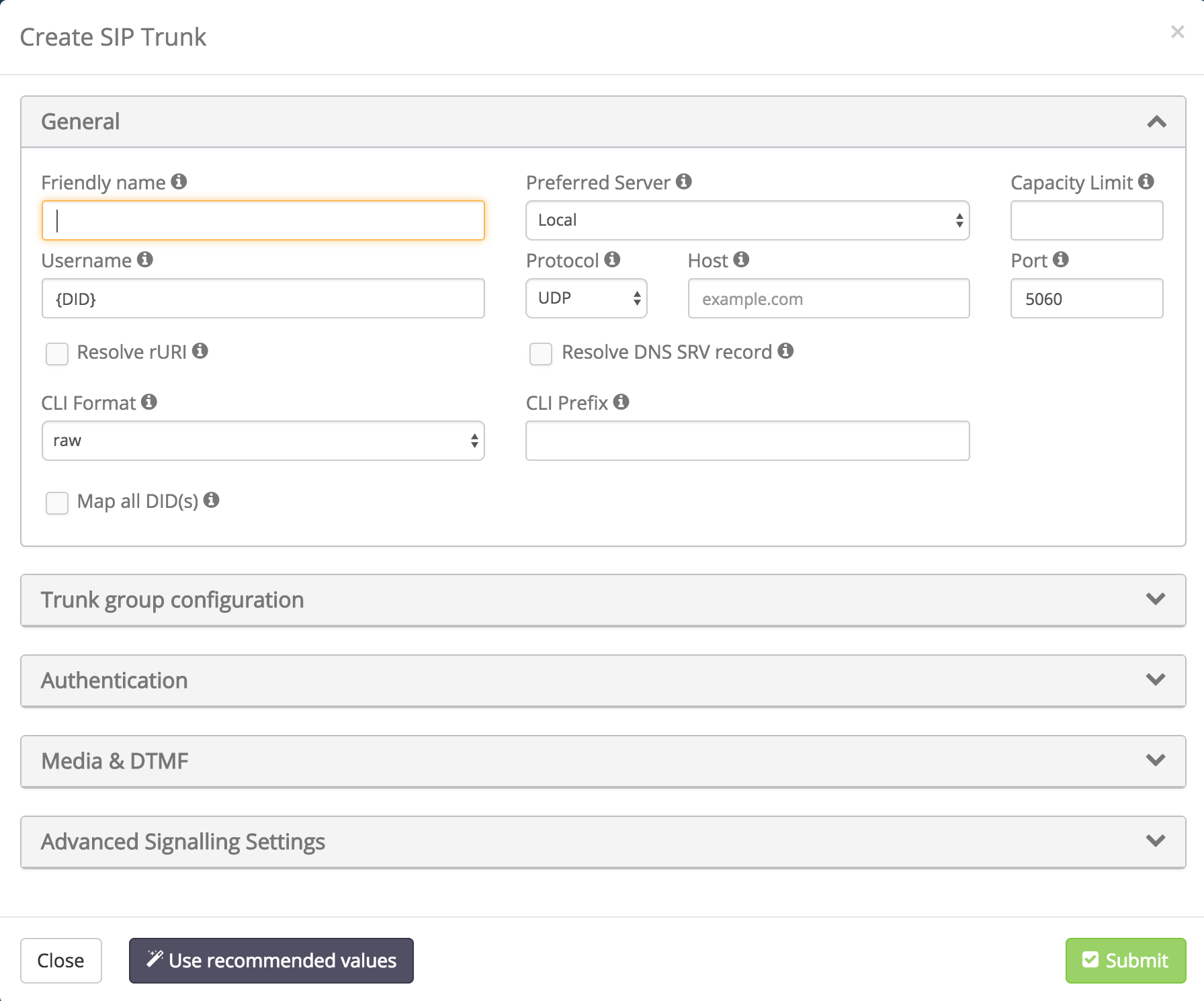 Creating a New Inbound SIP Trunk - Trunks - User Panel